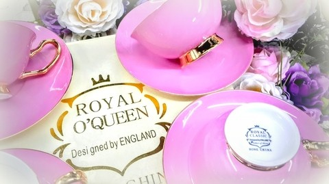 JUEGO DE TE PORCELANA  ROYAL QUEEN - CON OR 24 K