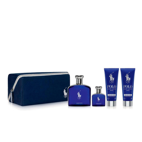 polo Blue EDT 125 ml + EDT 40 ml + After Shave 50 ml + Shower Gel 50 ml + Pouch - Eau de Toilette