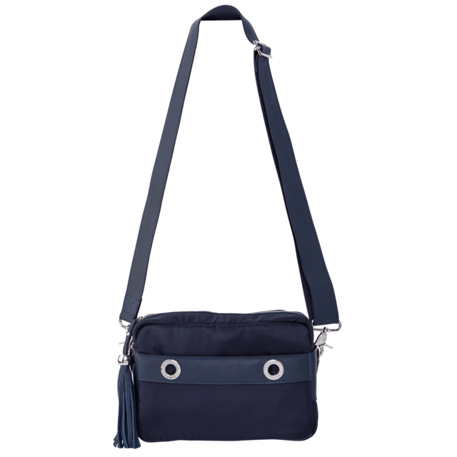 CROSS BODY LAURA AZUL MARINO CON PIEL
