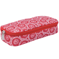 PENCIL CASE FLOWERS PATERN / CORAL