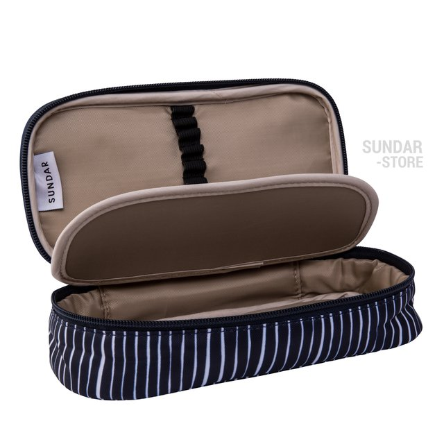 PENCIL CASE LINES PATERN BLUE NAVY /WHITE - buy online