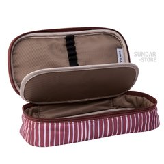 PENCIL CASE LINES PATERN BURGUNDY /WHITE