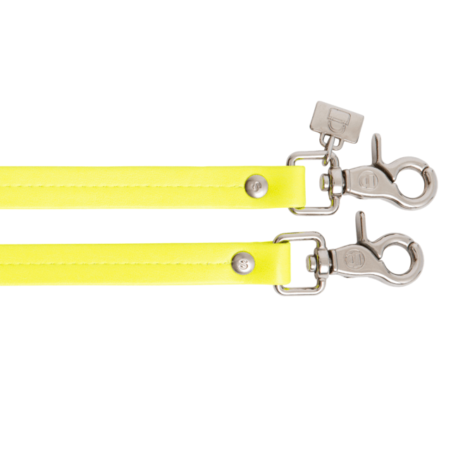 NEON YELLOW PATENT LEATHER HANDLES