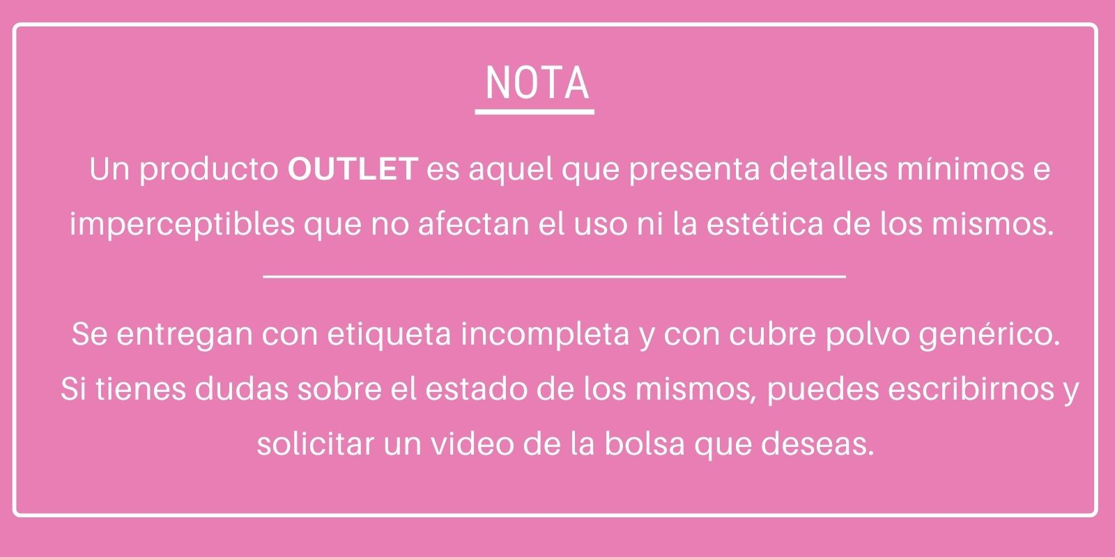 NOTA IMPORTANTE - OUTLET SUNDAR