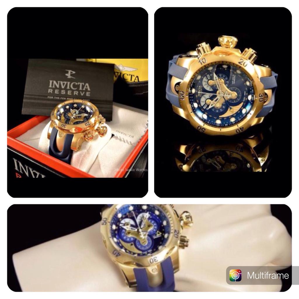cfbcc158e00 Relógio Invicta Reverse Venom Azul Banhado ouro 18k - 14465