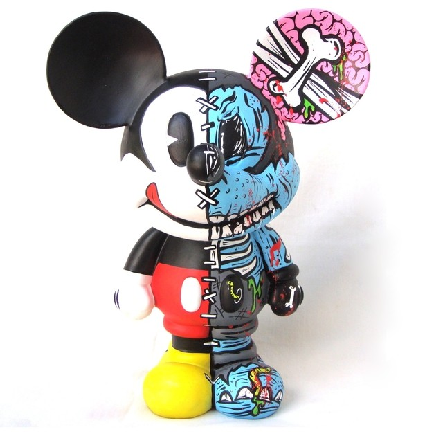 Zombie Half Mickey Art Toy - Gabbie Custom Art