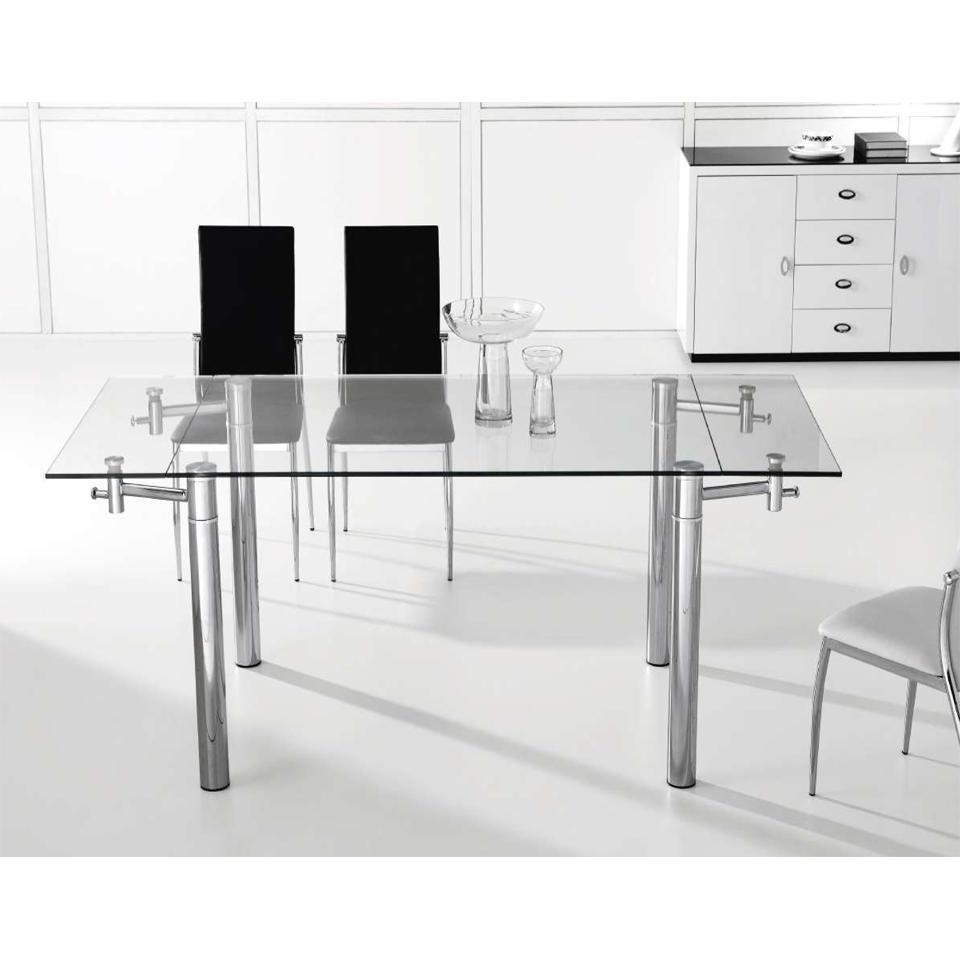 Rt 667 mesa extensible vidrio y cromo medida 1 30 x 85cm a 1 80m - Mesas de vidrio templado ...
