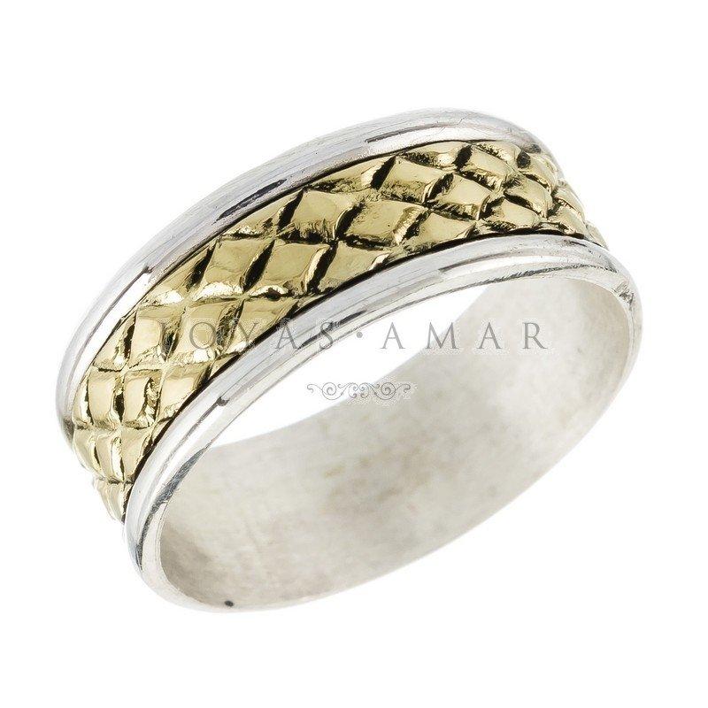 59730b8c7458 Alianza plata y oro cinta ancha centro oro rombitos
