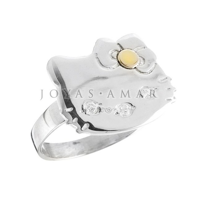 ANILLO HELLO KITTY PLATA Y ORO