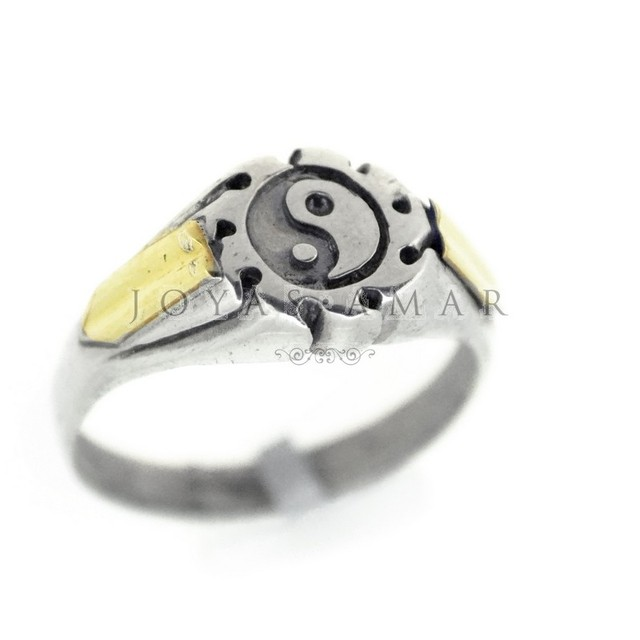ANILLO MINI SELLO YIN YANG PLATA Y ORO