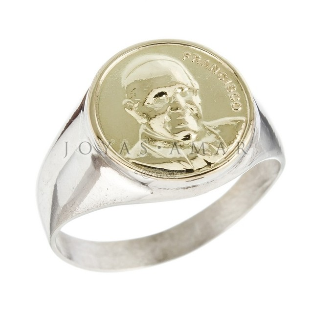 ANILLO SELLO PAPA FRANCISCO FRENTE ORO 12MM PLATA Y ORO