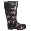 Botas de Lluvia Larga Dama Floreada Negro Proforce (62002)
