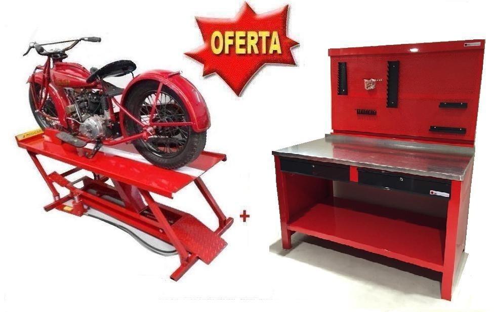 Elevador de motos + Banco de 2 cajones + Tablero