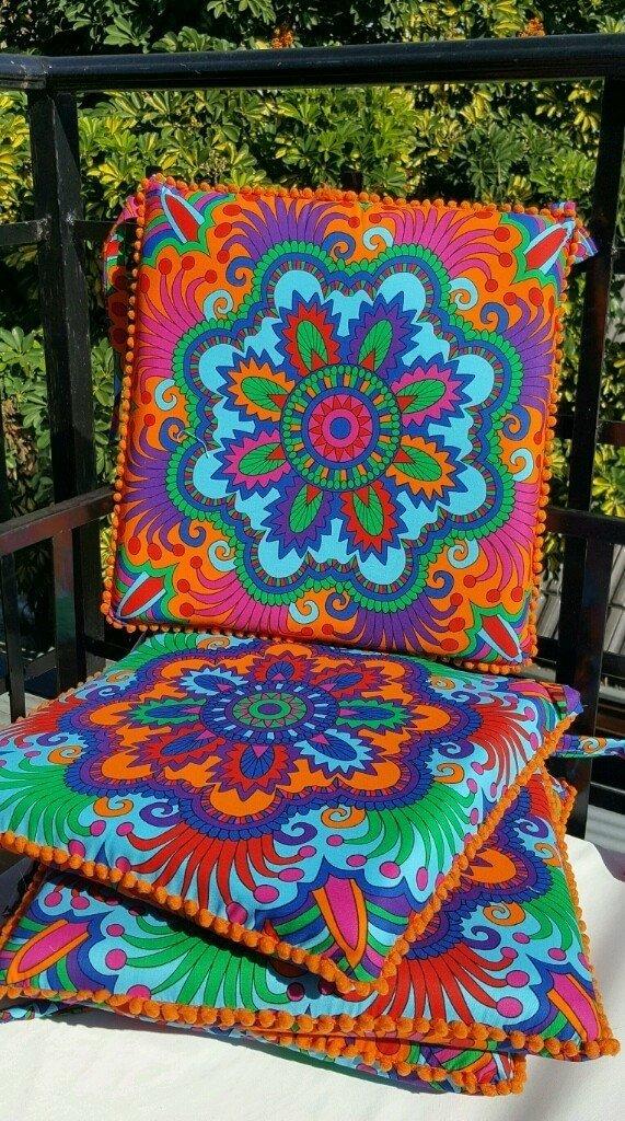 Conjunto de almohadones para silla mandala - Almohadones para sillas ...
