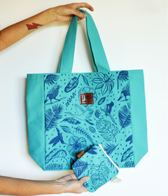 Kit Totebag + Monedero Tropical Verde - comprar online