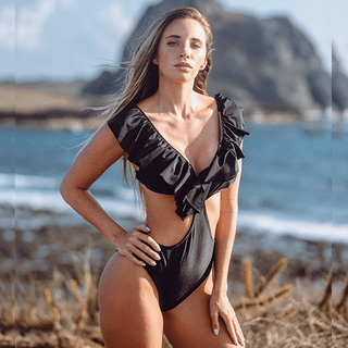 Body Maiô Lis Black Lycra