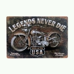 Placa decorativa moto vintage never Die