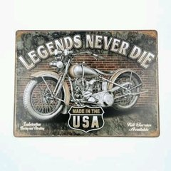Placa decorativa moto vintage never Die na internet