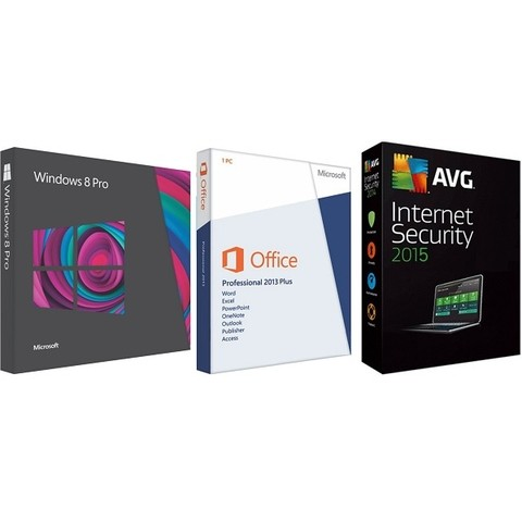 85% OFF - Windows 8 Pro, Atualiza para Versão 8.1, Office 2013 Professional Plus, AVG Internet Security 2015