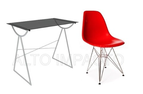 Escritorio Moderno Pc + Silla Dsr Eames Color A Eleccion