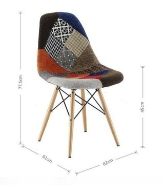 Silla Eames Dsw Patchwork Pata Madera - ALTO IMPACTO Home + Office