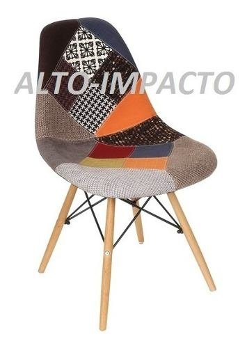 Silla Eames Dsw Patchwork Pata Madera