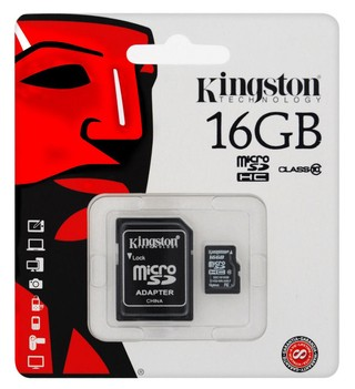 MEMORIA MICRO SD KINGSTON CLASE 10 DE 16GB
