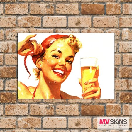 Placa Decorativa Pin-Up Beer na internet