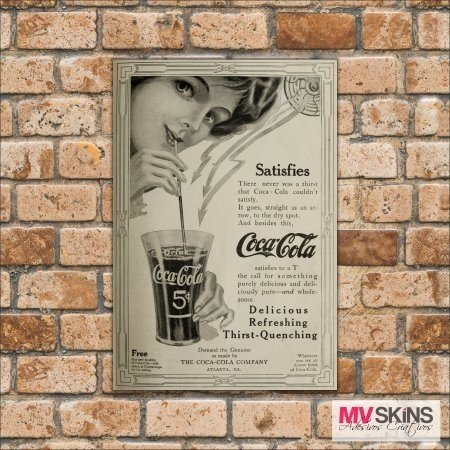 Placa Decorativa Coca-Cola Satisfies na internet