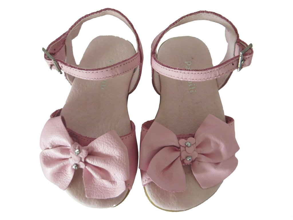 c858faa74f 10693 - Infantil Feminino Sandália em couro rosa laço Pampili. »