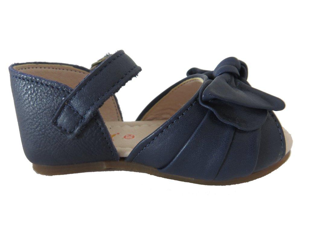 527dc50ce9 ... 11510 -Infantil Feminino Sandália azul marinho em couro laço Hobby na  internet ...