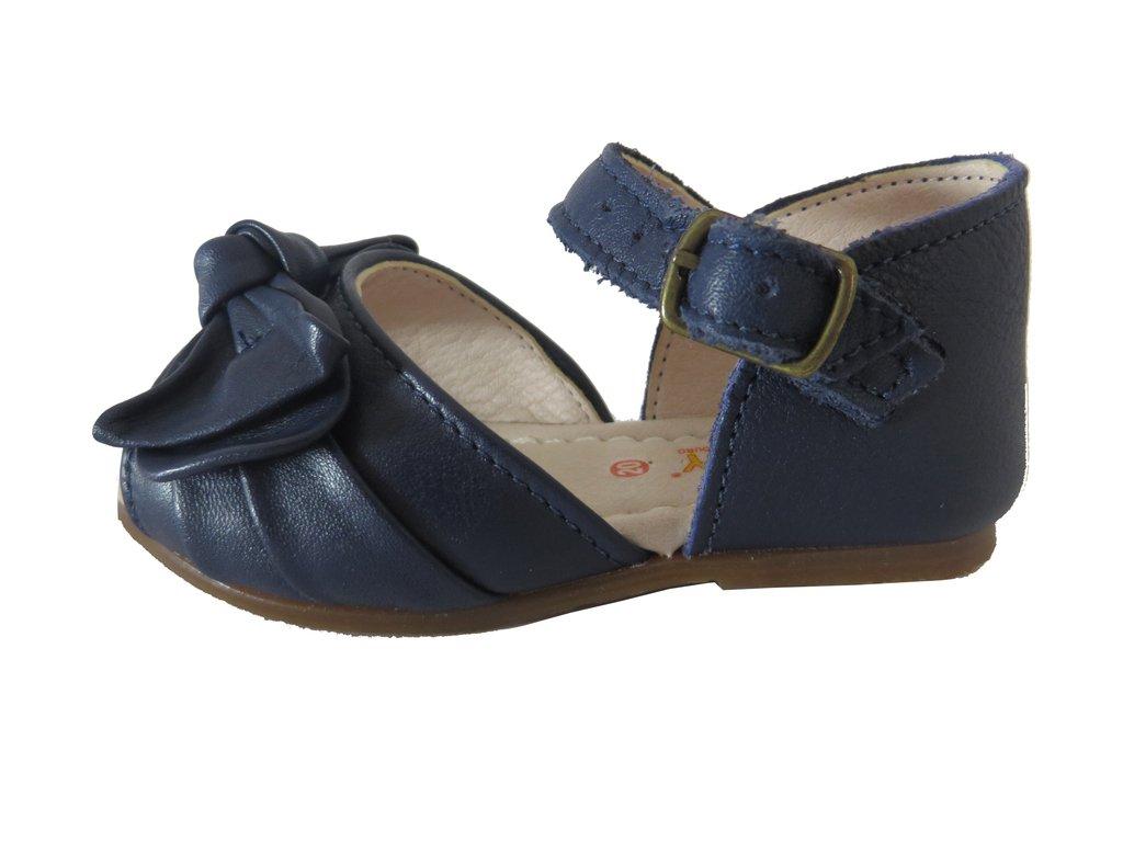 c2e564ab27 ... 11510 -Infantil Feminino Sandália azul marinho em couro laço Hobby -  loja online ...