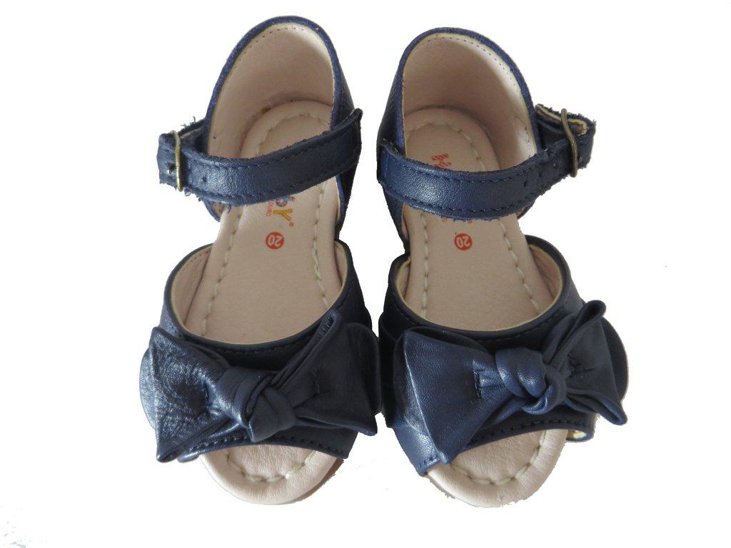 72299d8400 11510 -Infantil Feminino Sandália azul marinho em couro laço Hobby. »