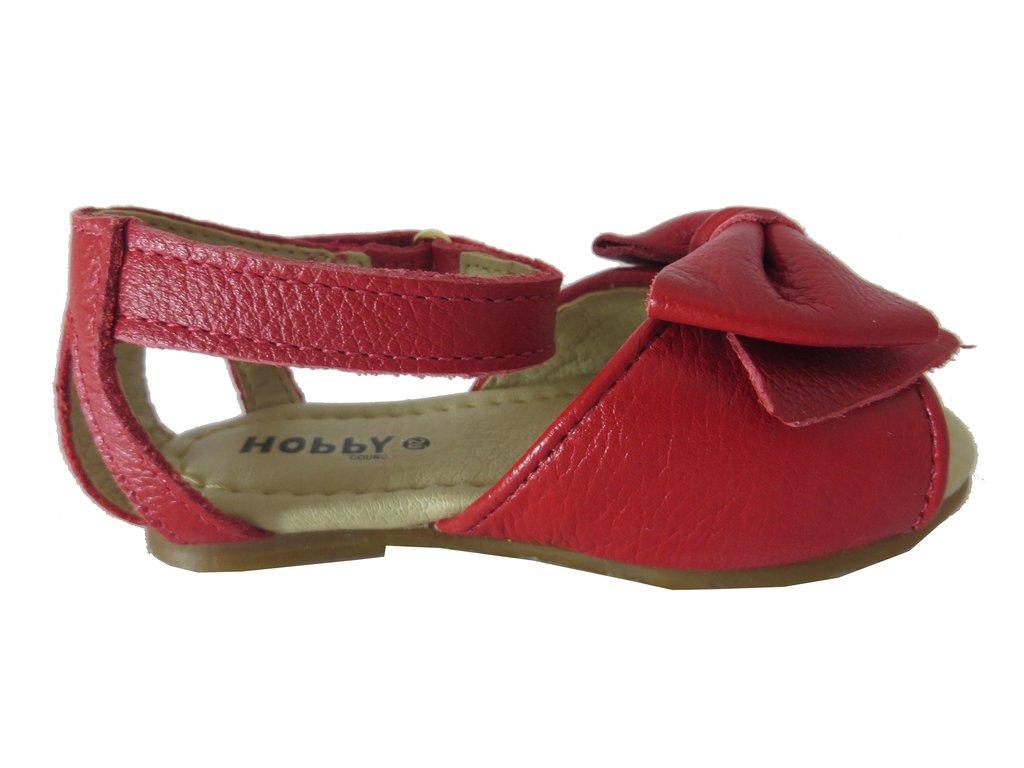 b16f1b3b35 ... 11862 - Infantil Feminino Sandália em couro laço vermelha Hobby na  internet ...