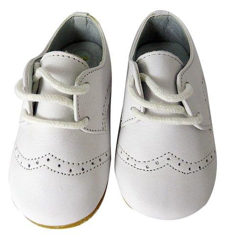 ef3e21efc 10408 - Infantil Masculino Sapato social branco de cadarço TOKE em couro