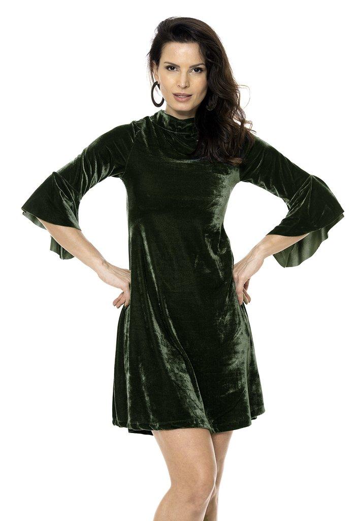 4a99a90c0f Vestido Bisô Manga Flare Veludo Verde - Bisô