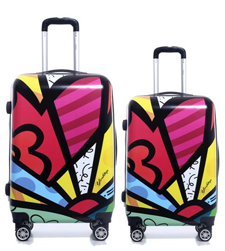Set de 2 Valijas Rigidas Estampadas Carry On y Mediana Con Giro 360°