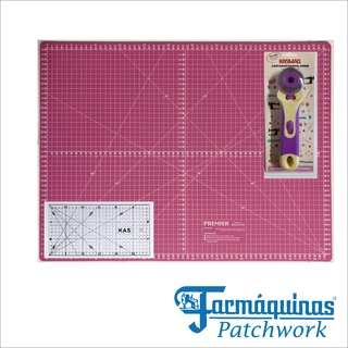 KIT Base De Corte 45x60 Rosa Régua 15x30 Cortador 45mm Patchwork