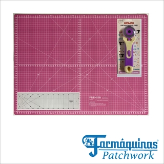 KIT Base De Corte 45x60 Rosa Régua 15x60 Cortador 45mm Patchwork