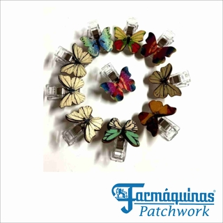 Prendedor Patch Borboleta C/ 10 Unid - Mini Clips