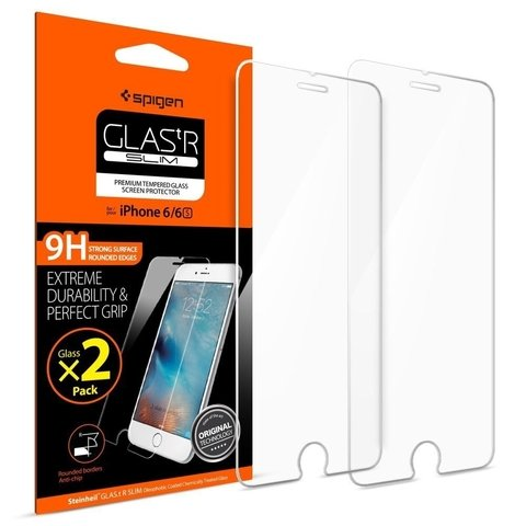 Vidrio iPhone 6 6s Gorilla Glass Spigen ® Original Pack x 2