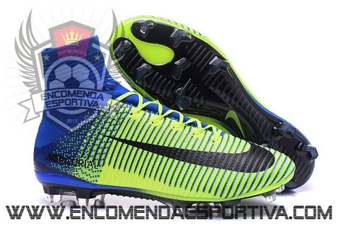 Nova Chuteira Mercurial Superfly Blue/Yellow Neon FG