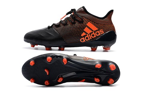 adidas X 17.1 leather FG preto com laranja
