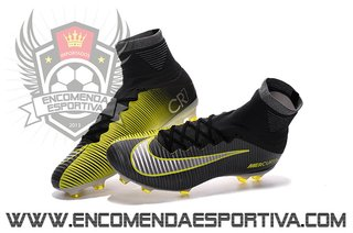 Nova Chuteira Mercurial Superfly V Black Yellow FG
