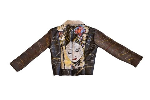 Little Mo Campera Cuero Corderito Sin Bolsillos Geisha Close Eyes Mangas Telas