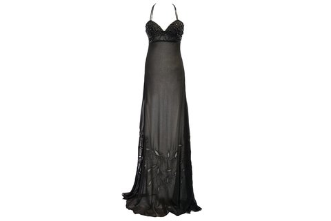 Maureene Dinar Long chiffon dress embroidered black