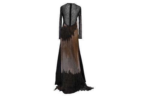 Maureene Dinar Long Dress black corsage embroidered