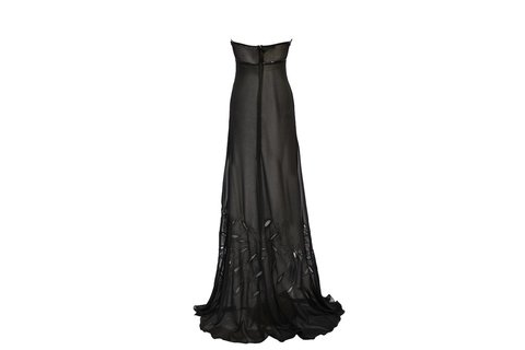Maureene Dinar Long chiffon dress embroidered black - buy online