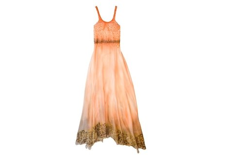 Image of Maureene Dinar Vestido Largo degrade naranja zocalo animal bd