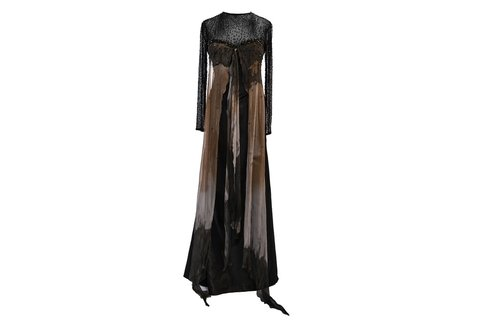 Maureene Dinar Long Dress black corsage embroidered - buy online